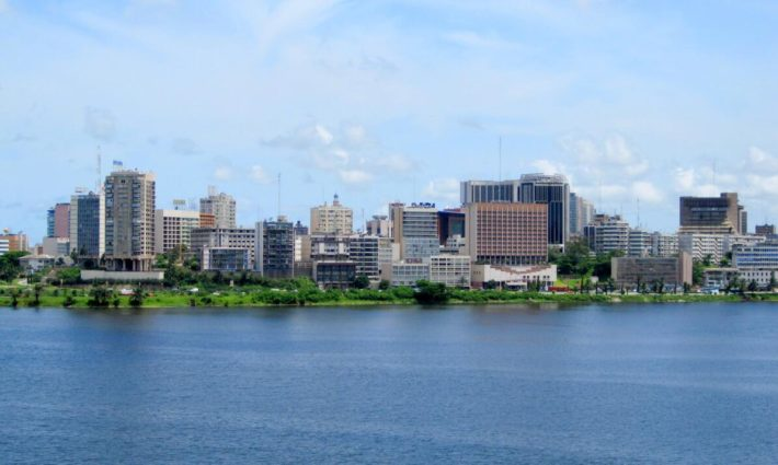The Plateau district of Abidjan, the central business district with the most important banks, taken from the Ebrie lagoon