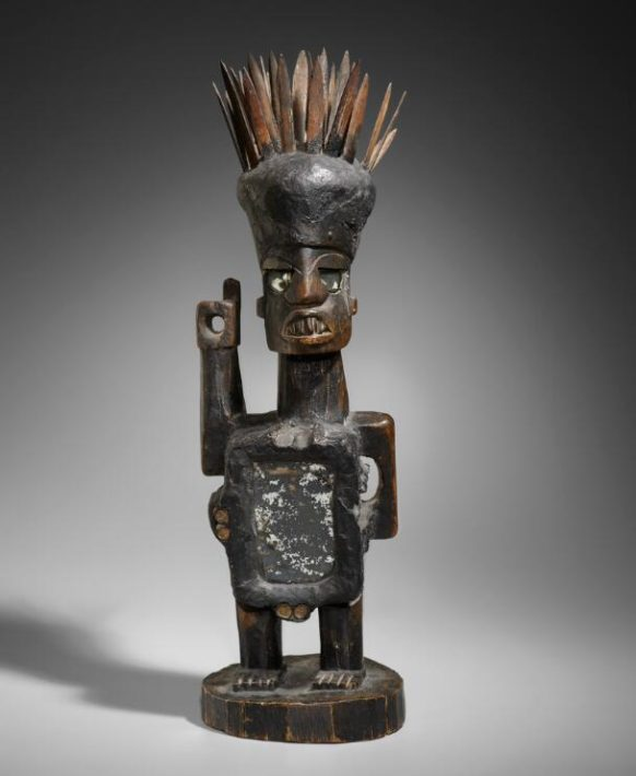 Early 1900s. Made in DR Congo of wood, metal, mirrors and bamboo. Unknown artist.