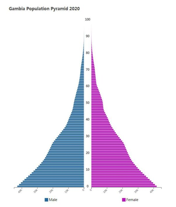 Gambia Population Pyramid 2020