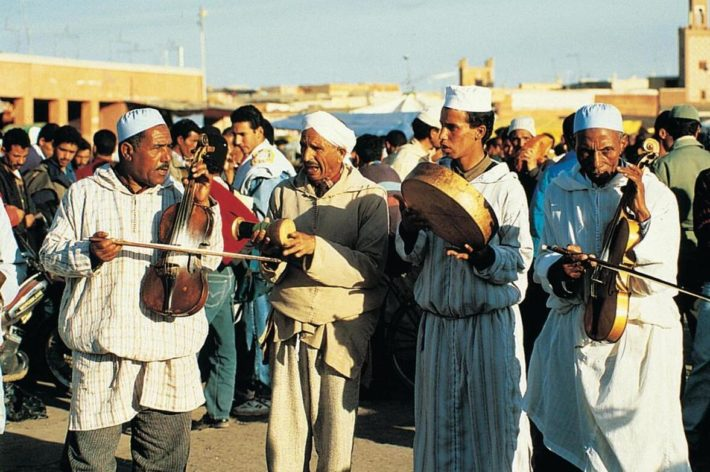 Musicians at Djema el-Fna Square in Marrakech's Old Town