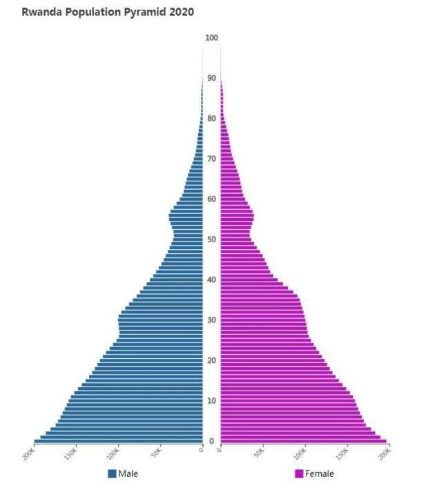 Rwanda Population Pyramid 2020