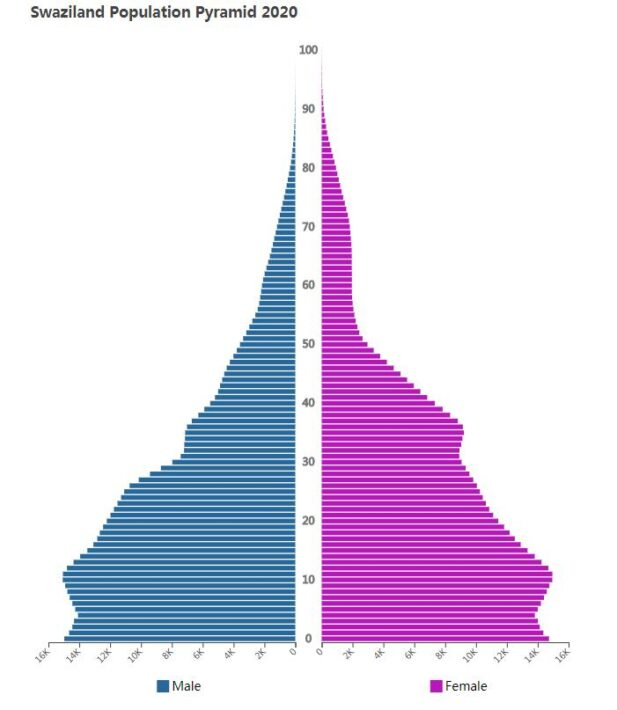Swaziland Population Pyramid 2020