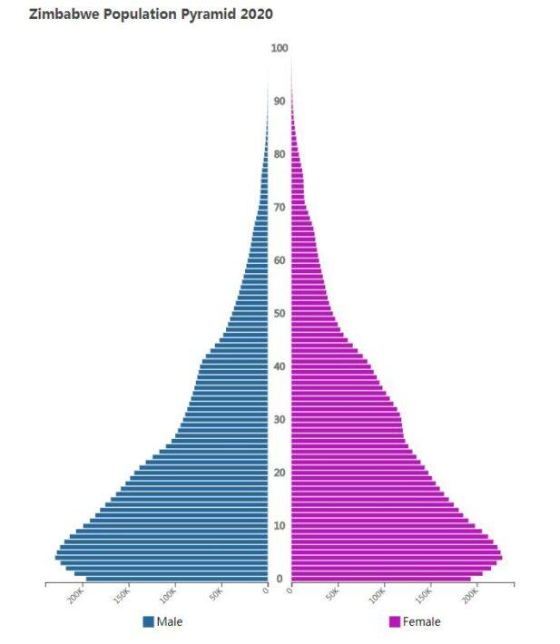 Zimbabwe Population Pyramid 2020
